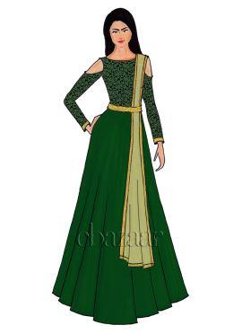 Green Cold Shoulder Brocade Abaya Set