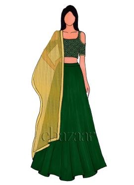 Green Cold Shoulder Brocade Lehenga