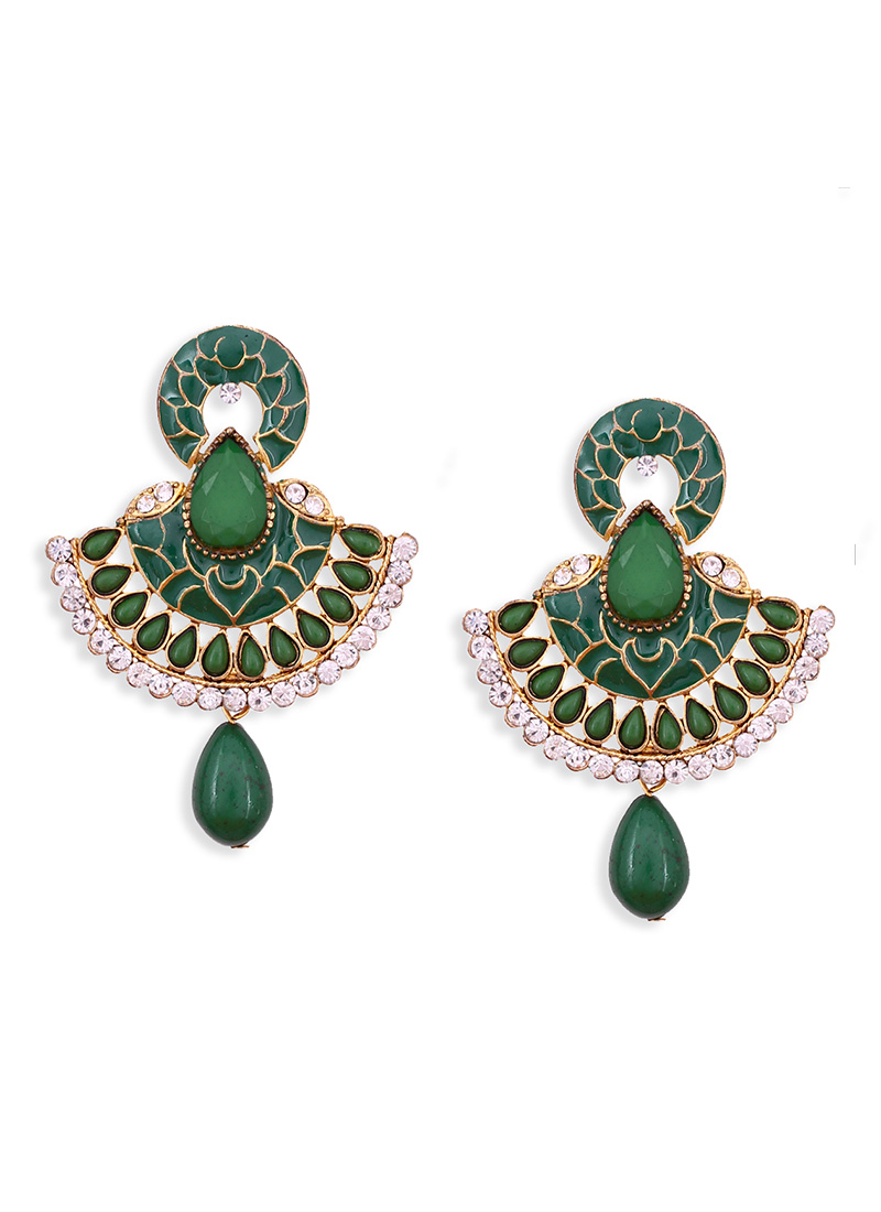 Green Colored Meenakari Enhanced Chand Balis