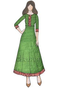Green Cotton Anarkali Kurti