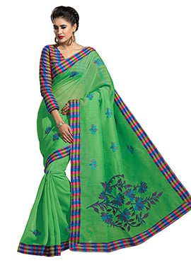 Green Cotton Embroidered Saree