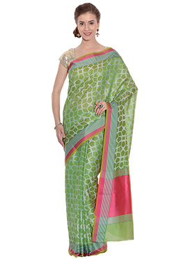 Green Cotton Geometric Patterned Saree