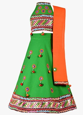 Green Cotton Kids Chaniya Choli Set