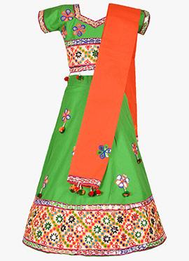 Green Cotton Kids Chaniya Choli Set