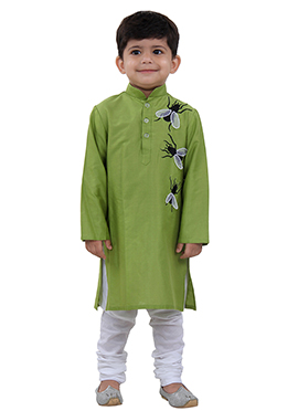 Green Cotton Kids Kurta Pyjama