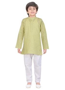 Green Cotton Kids Kurta Pyjama