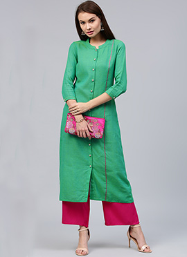 Green Cotton Knee Length Kurti