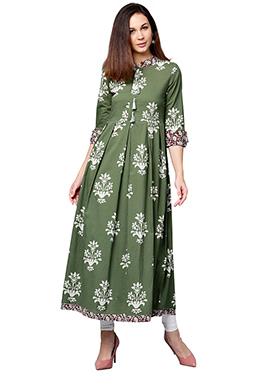 Green Cotton Long Kurti