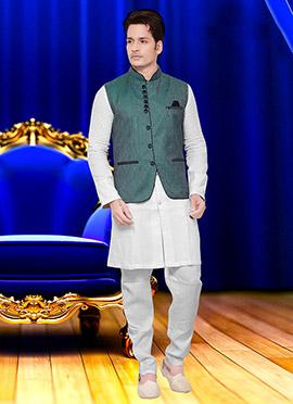 Green Cotton Nehru Jacket