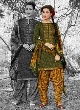 Green Cotton Patiala Suit