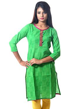 Green Cotton Printed Kurti
