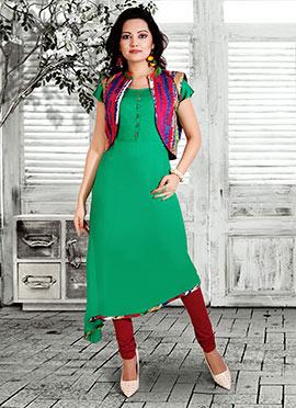 Green Cotton Rayon Anarkali Suit