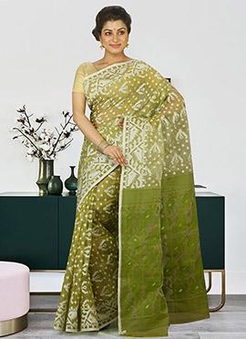 Green Cotton Jamdani Saree