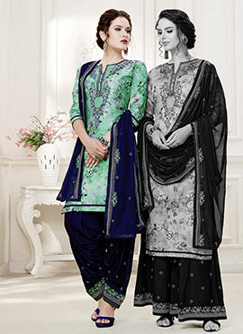 Green Cotton Satin Patiala Suit
