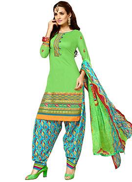 Green Cotton Semi Patiala Suit