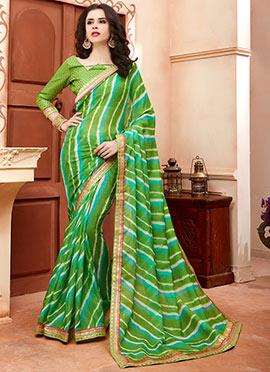 Green Cotton Silk Leheriya Saree