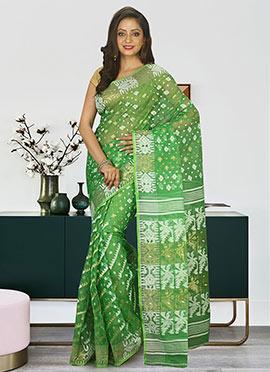Green Cotton Silk Jamdani Saree