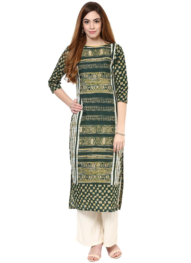 buy green cotton straight pant set printed long kurti online shopping iwsdjkplz2672. Black Bedroom Furniture Sets. Home Design Ideas