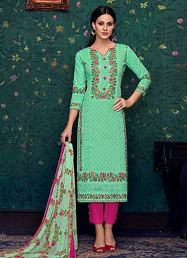 Green Cotton Straight Pant Suit