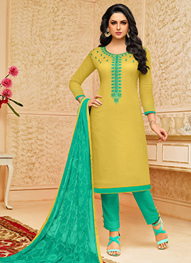 Green Cotton Straight Pant Suit Suit
