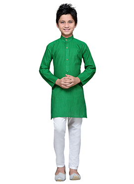 Green Cotton Striped Boys Kurta Pyjama