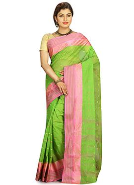 Green Cotton Tant Saree