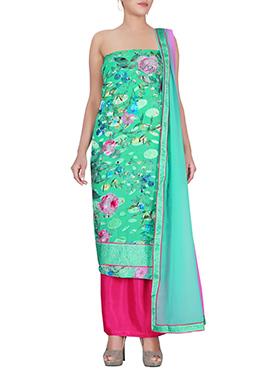 Green Brasso Dress Material