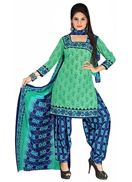 Green Crepe Printed Patiala Suit
