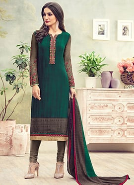 Green Crepe Straight Suit