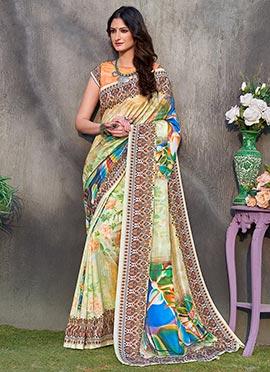 Green Digital Printed Floral Tussar Silk
