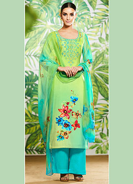 Green Digital Printed Palazzo Suit