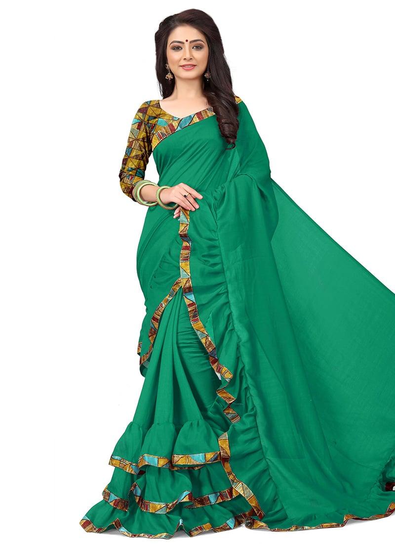 90ff612d8c Buy Green Digital Printed Ruffled Border Saree, Printed , Digital Print ...