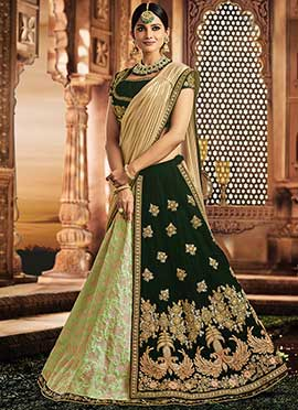 Green Dual Tone Embroidered A Line Lehenga