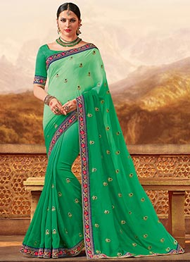 Green Dual Tone Embroidered Saree