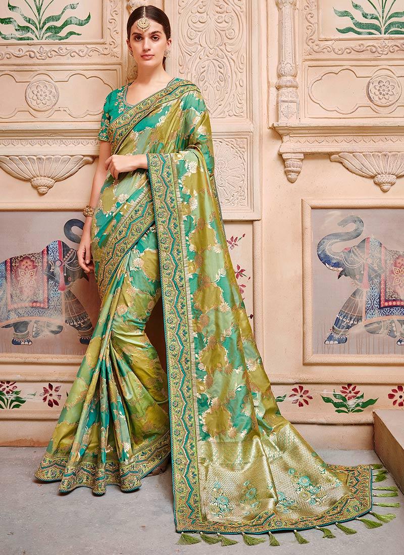 buy green dual tone jacquard saree beads jacquard embroidered