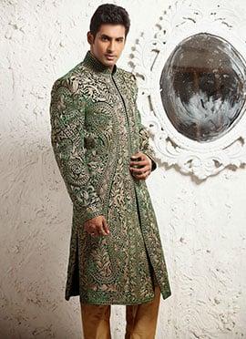 Green Embroidered  Sherwani