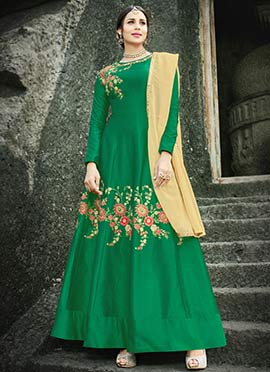 Green Embroidered Abaya Style Anarkali Suit