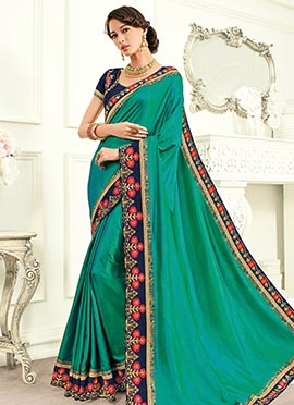 Green Embroidered Border Saree