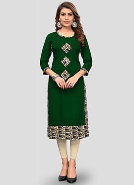 Green Embroidered Cotton kurti