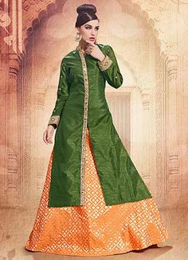 Green Embroidered Indowestern Skirt Set