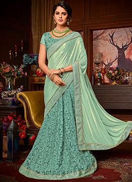 Green Embroidered Lehenga Saree