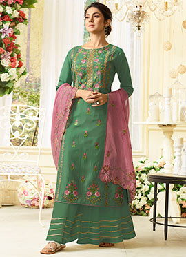2c32ace70 Jennifer Winget Green Embroidered Palazzo Suit
