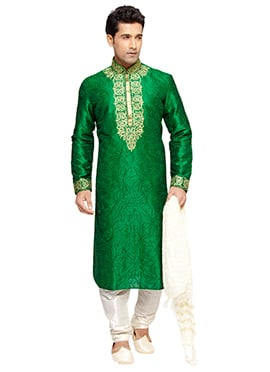 Green Embroidered PRDP Kurta Pyjama