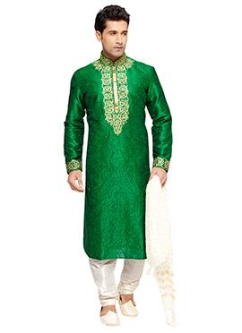 Green Embroidered PRDP Plus Size Kurta Pyjama