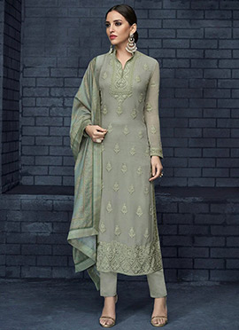Green Embroidered Straight Pant Suit