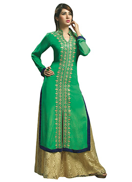 Green Embroidered Viscose Kurti
