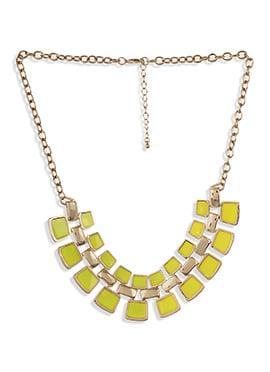 Green Enamel Work Enhanced Necklace