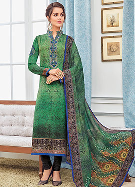 Green Faux Crepe Straight Suit