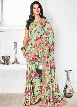 Green Floral Georgette Scalloped Saree