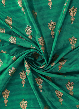 Green Foil Printed Munga Silk Fabric